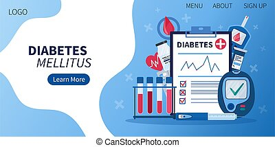 Landing page for diabetes mellitus awareness with flat diabetic infographic elements - insulin pen, tubes, syringe, blood glucose lever testing meter, clipboard with diagnose. Concept of healthcare