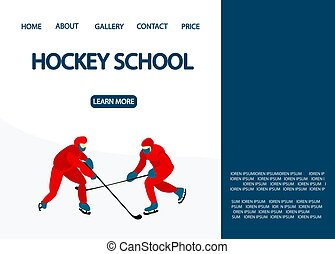 Landing page for the hockey school. Hockey players in uniforms are playing..