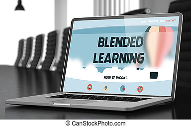 Closeup Blended Learning Concept on Landing Page of Laptop Screen in Modern Meeting Room. Blurred Image with Selective focus. 3D Illustration.