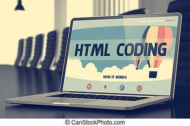 Landing Page of Laptop with Html Coding Concept. 3D.