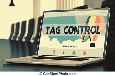 Landing Page of Laptop with Tag Control Concept. 3D. -...