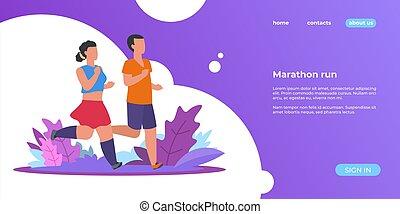 landing., page., park, na wolnym powietrzu, wektor, lato, sieć, kobieta, chorągiew, działalność, człowiek, biegacze, sporty, wyścigi, ludzie, pasaż, maraton