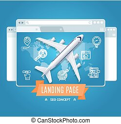 Landing Page Search Engine Seo Concept. Vector