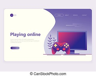 Landing page template. Video gaming, online games. Computer screen and gamepad. Flat vector illustration concepts for a web page or website.