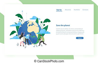 Landing page template with group of people of ecologists...