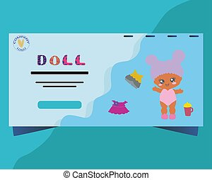 Landing page with baby doll.