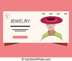Landing page with Beautiful woman wearing hat, sunglasses and trendy jewelry