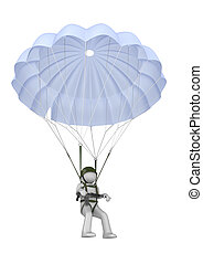 Landing paratrooper with rifle - 3d isolated on white...