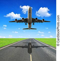 passenger airplane - Landing passenger airplane