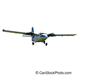 Landing Plane Isolated - This is a medium sized twin engine...