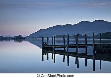 Landing stage at dawn on Derwent Water, Lake District Water,...