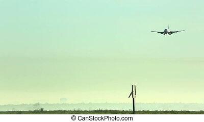 Landing - Boeing 737 airliner landing at Tolmachevo airport....