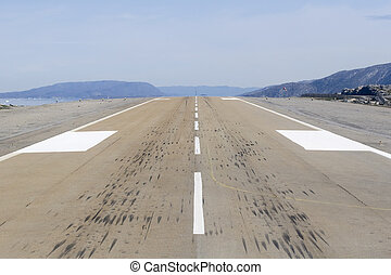 Landing strip - Photo taken from the cockpit of a helicopter...