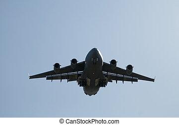 Landing Transport Plane - Large transport plane about to ...