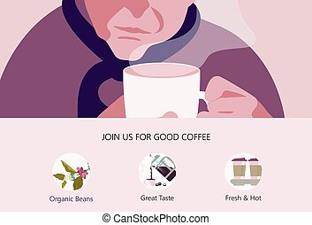 Old Man with Cup of coffee - Landing web page template with ...