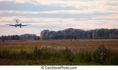 Landing. - Yakovlev-40 jet plane landing, Tolmachevo...