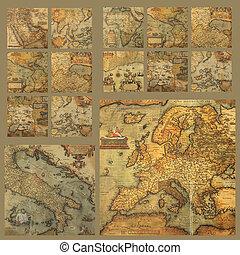 landkaarten, oud, samenstelling