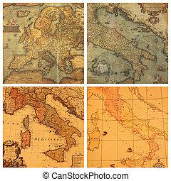 landkaarten, oud, verzameling