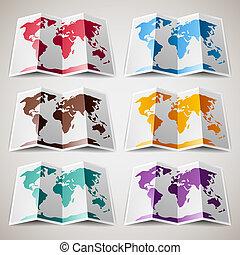 landkaarten, set, kleurrijke, wereld
