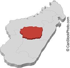 landkarte, 3d-illustration, -, antananarivo, madagaskar