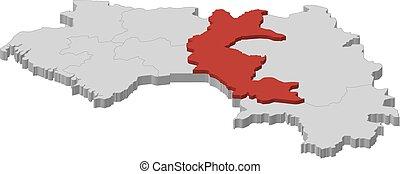 landkarte, 3d-illustration, -, guinea, faranah