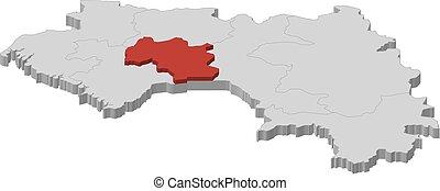 landkarte, 3d-illustration, -, guinea, mamou