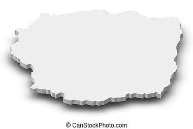 landkarte, 3d-illustration, -, (madagascar), antananarivo