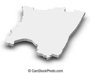 landkarte, 3d-illustration, -, (madagascar), fianarantsoa