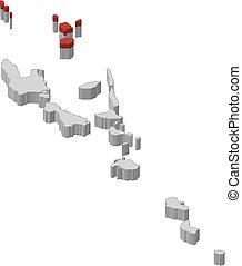 landkarte, 3d-illustration, -, torba, vanuatu