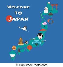 landkarte, abbildung, element, vektor, design, japan