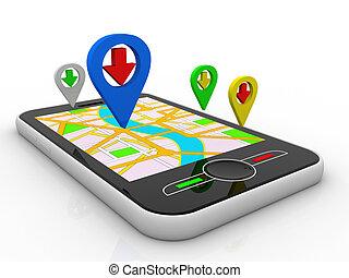 landkarte, abbildung, telefon, geolocation., klug, 3d