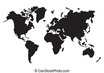landkarte, abstrakt, schwarz, welt