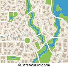 landkarte, abstrakt, vektor, abbildung, stadt