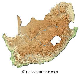 landkarte, afrikas, -, erleichterung, 3d-rendering, süden