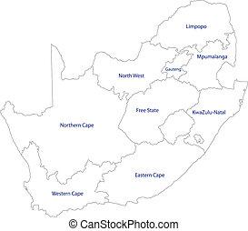 landkarte, afrikas, grobdarstellung, süden