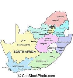 landkarte, afrikas, süden