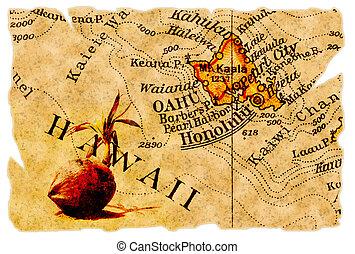 landkarte, altes , honolulu