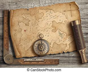 landkarte, altes , illustration., insel, reise, spyglass., abenteuer, kompaß, 3d, concept., mittelalterlich