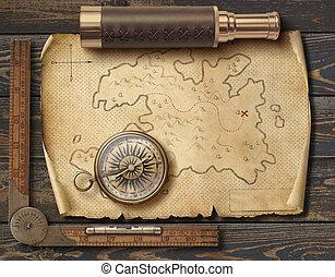 landkarte, altes , illustration., pirates', reise, spyglass., abenteuer, kompaß, 3d, concept., mittelalterlich