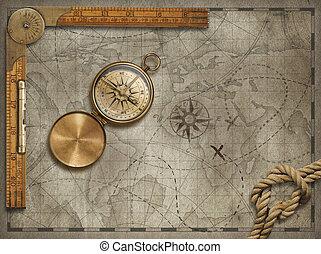 landkarte, altes , illustration., reise, ruler., seil, kompaß, abenteuer, hintergrund, concept., 3d