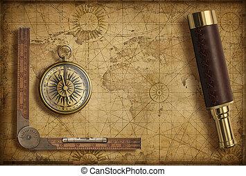 landkarte, altes , illustration., reise, spyglass., abenteuer, kompaß, welt, 3d, concept., mittelalterlich