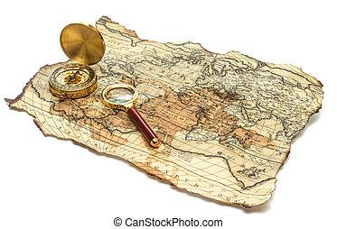 Landkarte, altes, Kompaß