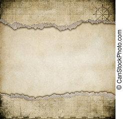 Landkarte, altes, Weinlese, zerrissene, Papier, hintergrund
