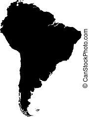 landkarte, amerika, schwarz, süden