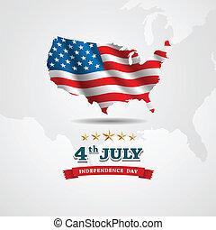 landkarte, amerikanische markierung, unabhängigkeit- tag