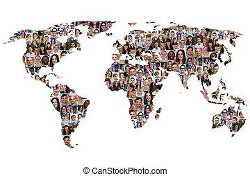 landkarte, andersartigkeit, welt, leute, multikulturell, integration, erde, gruppe