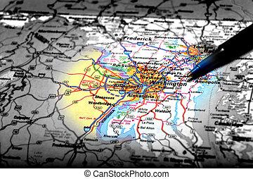 landkarte, ansicht, für, reise, zu, stellen, mit, stift,...