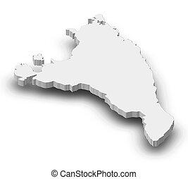 landkarte, antsiranana, 3d-illustration, -, (madagascar)