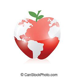 landkarte, apfel, abbildung, design, welt, rotes