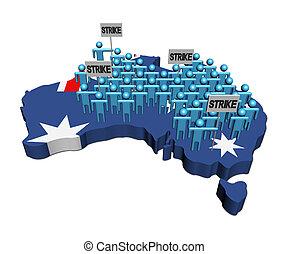 landkarte, australia, arbeiter, abbildung, fahne, streik